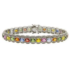 14k White Gold Pave Diamond Pink Green Rainbow 14 91C Multi Sapphire Bracelet | eBay
