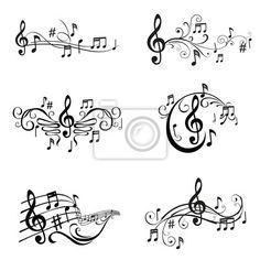 Conjunto de Ilustração das notas musicais - em vetor