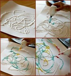 Absorbing Artwork...all you need is glue, salt and food coloring!  Fun for the kids :)
