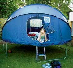 Looks like they aren't available anymore. :(    The tent has two brackets which clip around the rim of the trampoline. The tent has three tubes in which flexible pipes fit in order to maintain its shape. A polyester waterproof fly sheet is also included. The tent has 4 windows and two zip up doors.