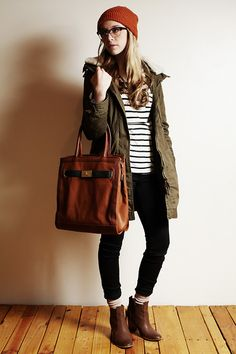 Urban Outfitters Knitted Beanie, H Olive Parka, Forever 21 Striped Tee, Aldo Tote, Bullhead Black Jeans, Socks, H Leather Booties