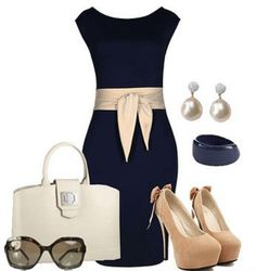 Love this Outfit Idea! Chic and Stylish Summer Fashion! Dark Navy Blue Sleeveless Midi Dress + Sexy Heels