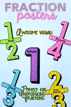 Every math classroom needs these fraction posters! They're perfect for introduction half, thirds, fourths, and one whole. Great visual for equivalent fractions.