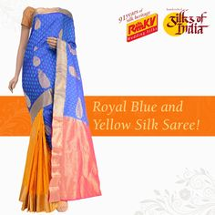 This silk saree with royal blue body and a contrasting yellow pleats section is a good choice for a close one's wedding. It has jari motifs on the body and beautiful borders on both sides. Click to order - https://www.rmkv.com/product/wedding-collections2545-24699