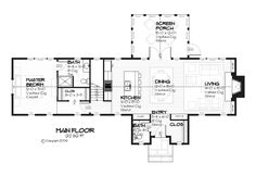 Cottage style house plan, country floor plan, screened porch. Main floor 1312 sf