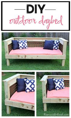 This DIY Outdoor Daybed is a simple build that will cost $200 or less to make - great piece of DIY outdoor furniture!