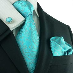 13c Bacrelli Aqua Men's Silk Tie Set. Matching Cuff Links... Ohhh he would look gooood in this...