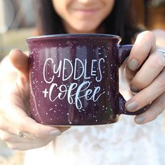 Cuddles and Coffee campfire mug Handlettered Mug Holiday Cute Coffee Mugs, Coffee Love, Tea Mugs, Best Coffee, Coffee Cups, Cute Cups, Fall Home Decor, Gifts In A Mug, Teen Backpacks