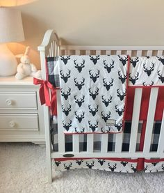 Ivory and Black Deer, Red, and Buffalo Check Bumperless Crib Bedding