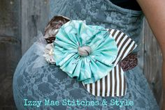 Beautiful Turquoise and Brown Striped Maternity by IzzyMaeStitches, $39.00