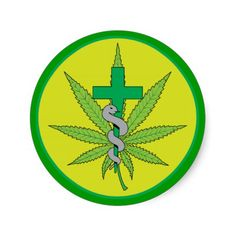 Cannabis Medical Green Cross with Snake Stickers $6.50 Medical Marijuana symbol created especially for Sunshine Delivery, LLC, ©RGebbiePhoto 2014 Green marijuana pot leaf with a green cross and a grey snake slithering up a staff. Green circle with light yellow background. Sunshine Delivery, LLC is located in Washington State. Makers of Hippy Hugs and other fantastic medible concoctions. Cannabis, Medibles, cannaboids, Medical Marijuana, MMJ.