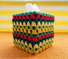 The Tissue Box Cover in the picture is crocheted with: