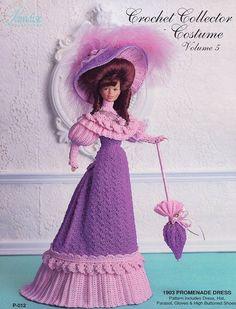 1903 Promenade Dress for Barbie Paradise vol. 5 Crochet PATTERN (NO DOLL) #ParadisePublications #DollClothes