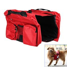 Tera Large Dog SelfCarry Harness Back Pack Bag Jacket Pouch for Huskie Golden Retriever Collie Labrador Red -- Check this awesome product by going to the link at the image.Note:It is affiliate link to Amazon.