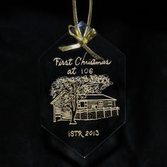 Ornament First Christmas in New Home by ArtfulCelebrations on Etsy Hand engraved drawing of your own house
