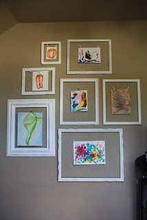old frames plus chicken wire to make family art gallery