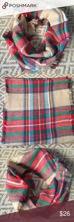 """NWT Luxe Tartan Plaid Infinity Scarf red camel A Fall 2016 wardrobe essential! 🍁🍂🎃🏈Brand new, comes in original wrapping. The beautiful camel and red plaid goes with everything! 16"""" by 64"""" dimensions, perfect to wrap around the neck for a cozy feel and look. Please ask if you have questions-- I have 4 of these so I will create a separate listing for you!! Accessories Scarves & Wraps"""