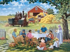 """John Sloane, artist - """"Our Daily Bread"""". On his home-page - with many other beautiful paintings! Norman Rockwell, Arte Country, Country Life, Farm Art, Country Scenes, Naive Art, Beautiful Paintings, Oeuvre D'art, Belle Photo"""