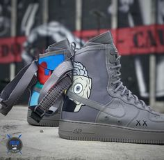"""757 Likes, 14 Comments - Billy Hobbs (@truebluecustoms) on Instagram: """"@kaws x SF AF1 Featuring the Dissected Companion on the outer heels, and paintings from the """"No…"""""""
