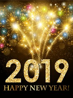 colorful new year fireworks card 2019 make your friends new year explode with excitement