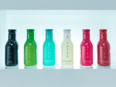 """Designed by Creamos, Hatsu is not your average bottled tea drink. """"We created a boutique brand from Colombia has a range of teas represented by a specific color and unique flavor. Hatsu currently has seven teas and develops two annually. Ecommerce Packaging, Brand Packaging, Cocktails, Alcoholic Drinks, Coffee Pack, Creativity And Innovation, Halloween Design, Love Design, Packaging Design Inspiration"""