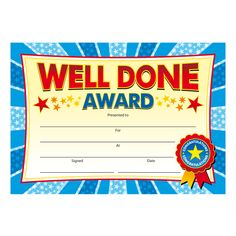 Certificates for well done awards from Brainwaves. Supplying stickers, certificates, badges, stampers & personalised rewards for school children.
