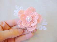 Beaded Flower hair comb in peach and white, French Beaded wedding hair piece, bridal hair accessory, with swarovski pearls