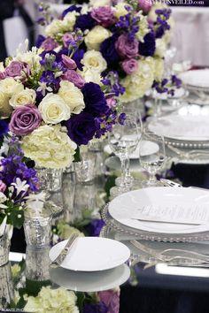 Purple and Lavender Wedding Details + Mercury Glass Votives / Alante Photography