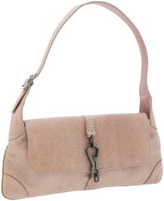 A fun Gucci pink python shoulder bag with gunmetal hardware, including a claw closure and an asymmetrical buckle on one side of the shoulder strap.