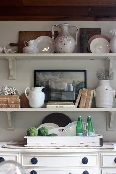 My Sweet Savannah: ~dining room shelving styled~ Room Shelves, Kitchen Shelves, Kitchen Decor, Kitchen Ideas, Open Shelves, Kitchen Vignettes, Kitchen Display, Kitchen Time, Kitchen Corner
