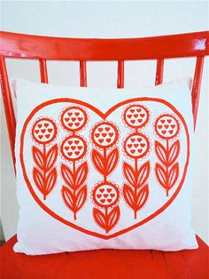 Look at this gorgeous bold red on white print! I love the repeating heart shapes. Apparently the print is by Jane Foster. Modern Scandinavian Interior, Scandinavian Design, Modern Interiors, Heart Cushion, Cushion Pillow, Applique Cushions, My Ideal Home, Printed Cushions, Love Heart