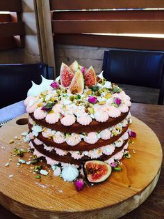 Katherine Sabbath inspired Persian Love Cake made by me!   Spiced caramel mudcake, rose cheesecake filling, meringue kisses, pistachios, fresh figs, roses