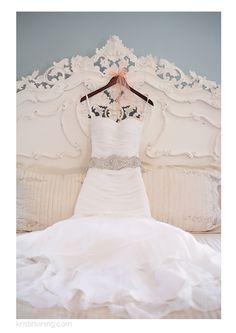 Kristin Vining Photography, wedding, wedding day, Kristin Vining, wedding dress, diamond belt, antique bed