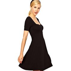 Jcotton Sexy Women Dress Lady Summer Slim Short Sleeved Dress Casual V Neck Casual Cocktail Skirt Size M Pure Color Black * You can get more details by clicking on the image. (This is an affiliate link and I receive a commission for the sales)