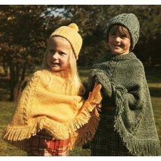 Retro 70s Poncho Hat Mittens Set Knit Patterns Child Sz 2 to Adult