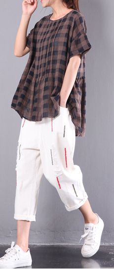 chocolate plaid wrinkled cotton tops plus size tops short sleeve t shirt