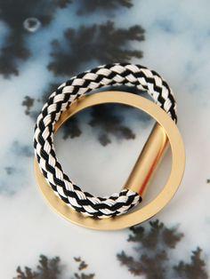 Handmade woven and metal oval bangle bracelet