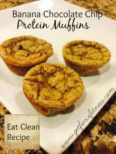 Banana Chocolate Chip Protein Muffins http://wp.me/p3YJGQ-8K   #eatcleanrecipe #cleaneating #proteinmuffin #healthyrecipe  For Clean Eating Recipes, Fitness Inspiration and Tips go to  facebook.com/getfiercefitness and click LIKE