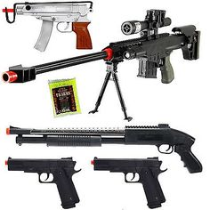 awesome NEW Lot of 5 Airsoft Guns Sniper Rifle Shotgun Machine Pistols & 1000 6mm BB - For Sale Check more at http://shipperscentral.com/wp/product/new-lot-of-5-airsoft-guns-sniper-rifle-shotgun-machine-pistols-1000-6mm-bb-for-sale/