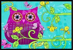 Sittin in the Flowers Owl Mat
