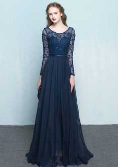 Vintage Scoop Neck Long Sleeves Beading Evening Dress for female Dark Navy  Size US 8 3047d7a87303