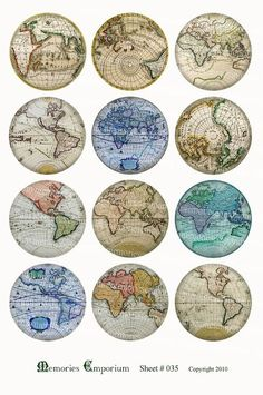Antique World Globe Maps Earth Continents Hemispheres Vintage Charts 2 inch Circles Collage Sheet Decoupage World Globe Map, Globe Earth, Bottle Cap Images, Bottle Caps, Old Maps, Vintage Maps, Antique Maps, Decoupage Vintage, Journal Stickers
