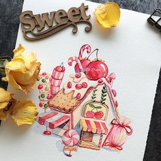 Ideas For House Drawing Design Artworks House Design Drawing, House Drawing, Kawaii Illustration, House Illustration, Cartoon Drawings, Cute Drawings, Candy Drawing, House Party Decorations, Candy House