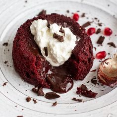 Williams-Sonoma: Red Velvet Molten Chocolate Lava Cakes with Chocolate Ganache Center.
