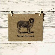 Saint Bernard Burlap Art.