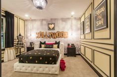 2016 Centerpiece Home built by Fischer Homes at the Indianapolis Home Show   Allerton Floorplan   Hollywood themed bedroom