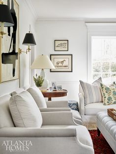 """""""I wanted our home to be a bright, beautiful backdrop for the memories we were about to create as a family,"""" says Lauren Lowe of her vision. The chairs are Bungalow Classic for Highland House Formal Living Rooms, Home Living Room, Apartment Living, Living Room Designs, Living Room Furniture, Living Room Decor, Living Spaces, Southern Living Rooms, Classic Living Room"""