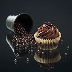Dark Chocolate Cupcake   By L'Ecole Valrhona. Recipe available on our online boutique: http://www.valrhona-chocolate.com/shop/Dark-Chocolate-Cupcake.php