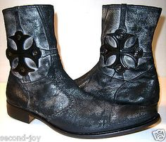 Mark Nason 67307 Italy Mens Size 11.5 Black/Silver Leather Rocker Cross Boots in Clothing, Shoes & Accessories, Men's Shoes, Boots   eBay