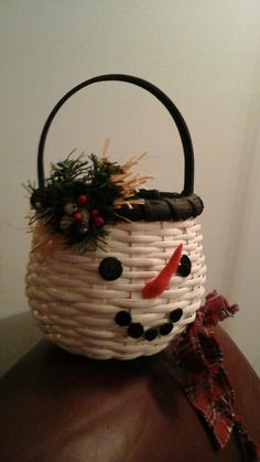 Frosty Snowman Handwoven Basket by OneOfAKindBaskets on Etsy